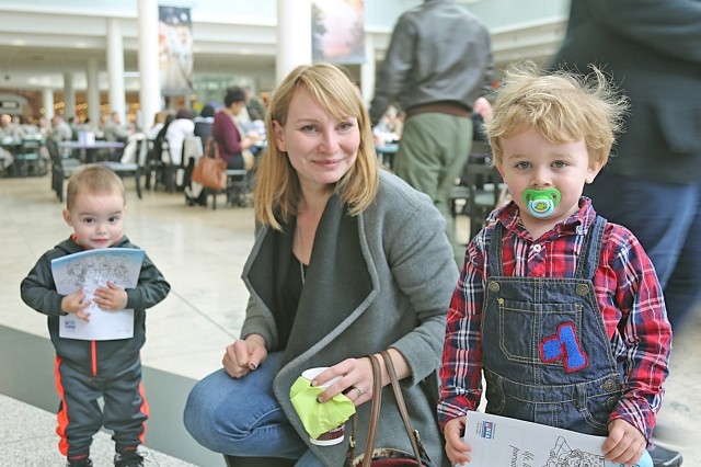 Some little folks came to visit the 7th MSC Family Support Programs table to show their keen interest in Month of the Military Child, March 28, 2017 at the Kaiserslautern Military Community Center on Ramstein Air Base.