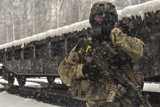 A Paratrooper assigned to Charlie Company, 1st Battalion, 508th Parachute Infantry Regiment provides security outside a subway tunnel at Fort A.P. Hill, Va., March 21, 2018.  The 3rd Brigade Combat Team, 82nd Airborne Division Paratroopers trained at Fort A.P. Hill for two weeks in March to hone their combat skills through realistic training scenarios. (Photos by Spc. John Lytle)