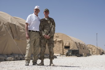 Family serving family: Father, son reunite downrange