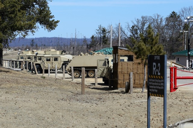 Soldiers at Fort McCoy, Wis., for training in Operation Cold Steel II prepare for a training session at Range 2 on March 23, 2018, at the installation. Operation Cold Steel II is the Army Reserve's crew-served weapons qualification and validation exercise to ensure America's Army Reserve units and Soldiers are trained and ready to deploy on short notice as part of Ready Force X. Cold Steel II's Task Force Triad, hosted by the 416th Theater Engineer Command, will conduct training at Fort McCoy through May 31. More than 3,000 Soldiers are attending this mounted crew-served weapons qualification training. (U.S. Army Photo by Scott T. Sturkol, Public Affairs Office, Fort McCoy, Wis.)