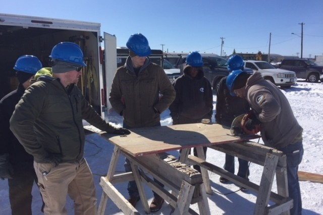 Six transitioning Soldiers at Fort Drum, New York, learn the tools of the trade March 19 during a six-week Construction Craft Laborer Course. This was the latest employment skills training program offered at the Fort Drum Soldier For Life-Transition Assistance Program. (Photo by Chris Gray)
