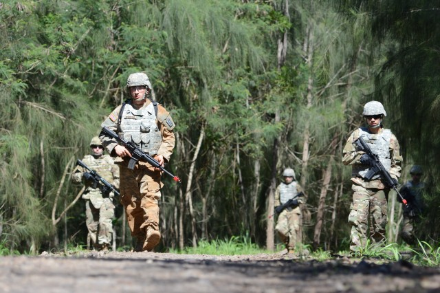 Soldiers assigned to the 500th Military Intelligence Brigade-Theater conduct warrior task and battle drills during the Brigade Best Warrior competition Mar. 26-29, 2018 at the Kahuku Training Area near the North Shore on Oahu, Hawaii.