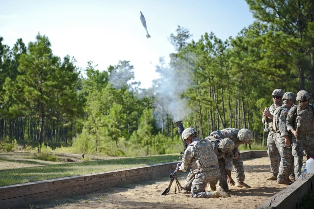 FORT BENNING, Ga. (April 12, 2018) -- In this U.S. Army file photo from 2015, mortar Soldiers fire a 81-mm mortar round. The inaugural Best Mortar Competition April 14 through 16 is a three-day event that pits the military's best four-man mortar crews against each other as they compete for the title of Best Mortar Crew. Mortars provide indirect fire and are organic to the maneuver commander, and they aid in the success of the unit's mission. Their ability to provide high-angle fires is invaluable against dug-in enemy troops. There are currently three major calibers of mortars used by the Army: the 60 mm, 81 mm, and the 120 mm. This competition will field test new tactics, techniques and procedures and will build esprit de corps among the mortar community. (U.S. Army photo by Patrick Albright, Maneuver Center of Excellence, Fort Benning Public Affairs)