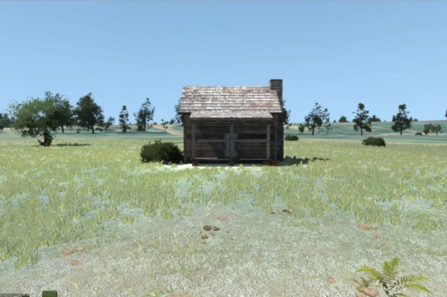 A virtual image of the William Edwards Cabin at the Wilson's Creek Battlefield. Virtual staff rides use imagery of terrain that is replicated based on satellite imagery and the construction of three dimensional models in a virtual environment for classroom use.