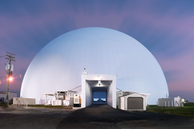 "Originated in 1984, the U.S. Army Aberdeen Test Center's completely air-supported facility, known as the Moving Target Simulator or the ""Bubble"", was designed to test any system with a fire control component on combat vehicles such as Abrams tanks, Bradley Fighting Vehicles, and the Stryker Mobile Gun System."