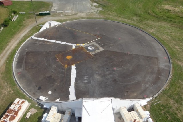 From a birds eye view, this is what the U.S. Army Aberdeen Test Centers Moving Target Simulator looked like for approximately one month while new skin was installed. The original skin was only made for a 10-year lifespan, but ended up reaching over 33 years of life. It is now completely operational, continues its mission, and looks to the future.