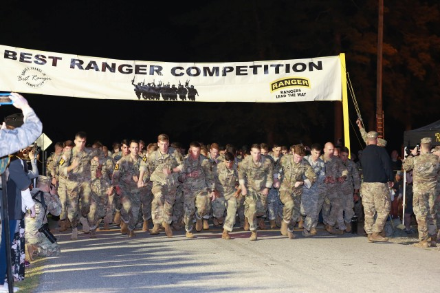 FORT BENNING, Ga. (April 13, 2018) -- All the competitors in the 2018 Best Ranger Competition start running. On the first day of the 2018 Best Ranger Competition, 51 teams of two Ranger-qualified U.S. military service members took on several events to test their physical endurance, mental acumen, and technical and tactical skills. The 35th David E. Grange Jr. Best Ranger Competition, an annual competition organized by the Airborne and Ranger Training Battalion, is set to determine the most elite Ranger-qualified two-athlete team of the Armed Services April 13 through 15 at Fort Benning, Georgia. (U.S. Army photo by Markeith Horace, Maneuver Center of Excellence, Fort Benning Public Affairs Office)
