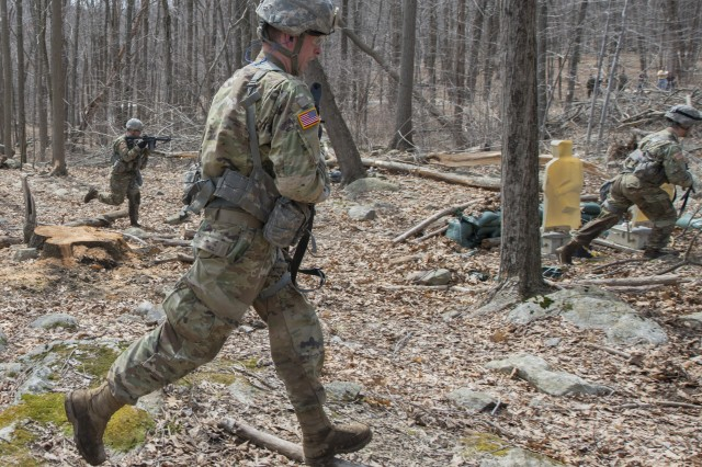 U.S. Military Academy cadets maneuver during an assault event as part of the Sandhurst Military Skills Competition at West Point, New York, April 13, 2018. The 50th annual competition had 64 squads from the Academy, and other service academies and ROTC detachments from across the country as well as 14 other nations.