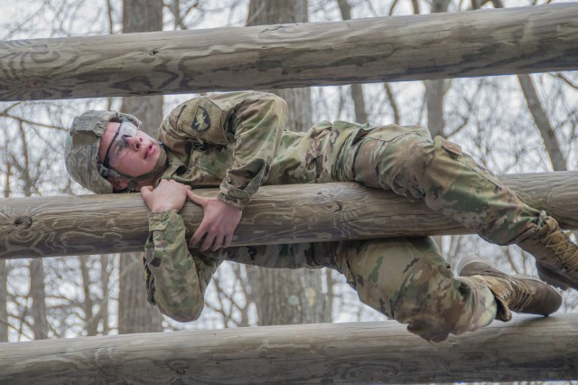 A U.S. Military Academy cadet completes an obstacle during the Sandhurst Military Skills Competition at West Point, New York, April 13, 2018. The 50th annual competition had 64 squads from the Academy, and other service academies and ROTC detachments from across the country as well as 14 other nations.