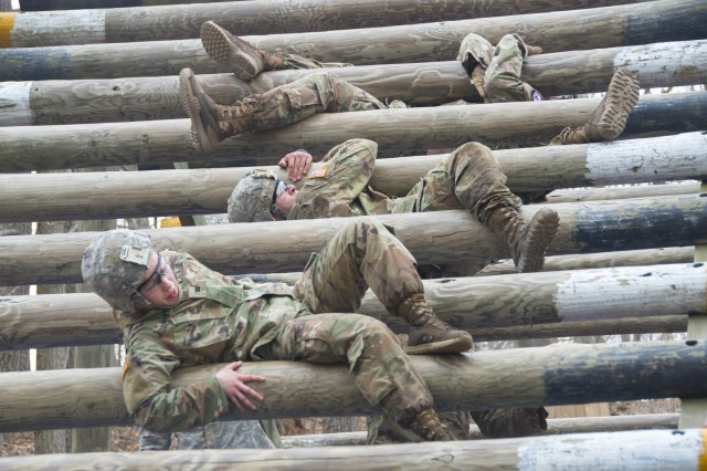 U.S. Military Academy cadets complete an obstacle during the Sandhurst Military Skills Competition at West Point, New York, April 13, 2018. The 50th annual competition had 64 squads from the Academy, and other service academies and ROTC detachments from across the country as well as 14 other nations.