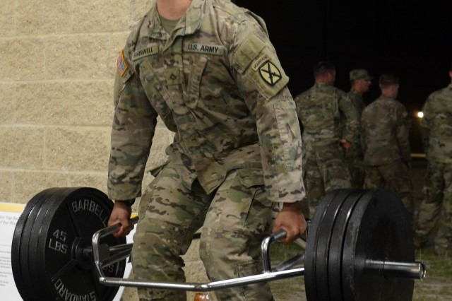 A competitor competes in deadlifts at the Best Mortar Competition at Fort Benning, Ga., April 14, 2018.