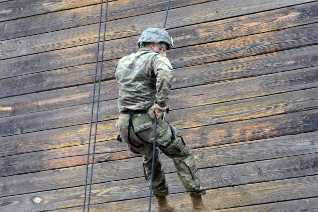 A Soldier rappels at Eagle Tower during the inaugural Best Mortar Competition at Fort Benning, Ga., April 15, 2018.