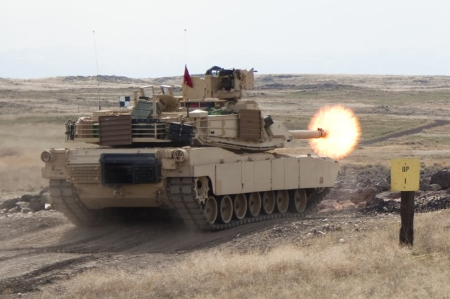 An M1A2 Abrams main battle tank from the 116th Cavalry Brigade Combat Team 2-116th Combined Arms Battalion conducts Gunnery Table XII March 20, 2018 at the Orchard Combat Training Center, Boise, Idaho. The training was the first major exercise for the unit since 2004 involving the M1A2.