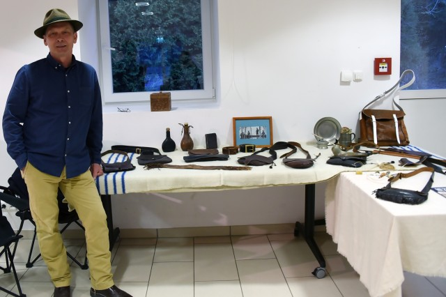 GARMISCH-PARTENKIRCHEN, Germany (April 16, 2018) - Randy Richau, security officer at the George C. Marshall European Center for Security Studies, showcases his leather works at the 4th Annual Garmisch Community Art Show held April 14 at the Pete Burke Community Center on Artillery Kaserne. (Marshall Center photo by Christine June)
