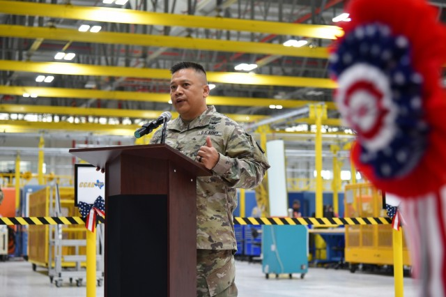 "Col. Allan Lanceta, commander, Corpus Christi Army Depot, Corpus Christi, Texas, delivers a speech during the CCAD Hangar 43 Ribbon Cutting Ceremony, April 13, 2018. The ceremony marked the completion of renovations for the hangar, which has been around since WWII, and sustained some setbacks due to Hurricane Harvey. Lanceta said the renovations have made Hangar 43 a state-of-the-art facility that will, ""increase efficiency and decrease turnaround time."" Lanceta said the project was, ""a huge accomplishment for the entire team, CCAD and the Army Corps of Engineers and the Navy."""