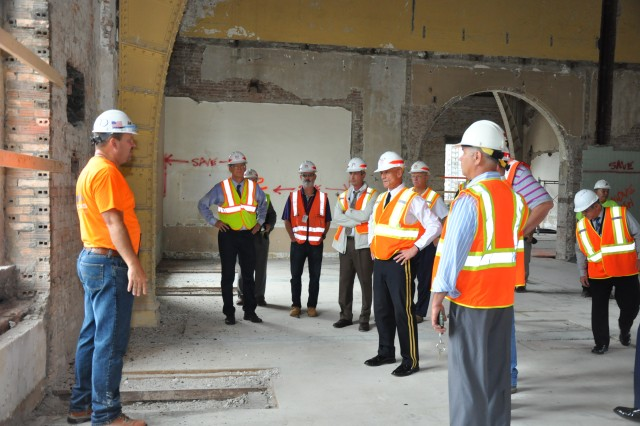 Superintendent of USMA, LTG Caslen (center) requested a tour of the Pershing Barracks renovation. Credit: USACE.