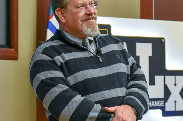 Dr. Richard S. (Shawn) Faulkner, Command and General Staff College history professor, pauses for an audience question during an Army Leader Exchange program at Fort Leavenworth's Lewis and Clark Center. Faulkner recently received the 2018 Richard W. Leopold Prize from the Organization of American Historians for his book Pershing's Crusaders: The American Soldier in World War I.
