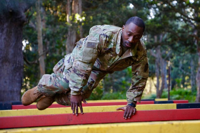 Soldiers from the 25th Infantry Division took on the obstacle course April 10, as part of the Tropic Lightning Best Warrior Competition. The Tropic Lightning Best Warrior Competition is a weeklong event that tests Soldiers with an emphasis on physical fitness.