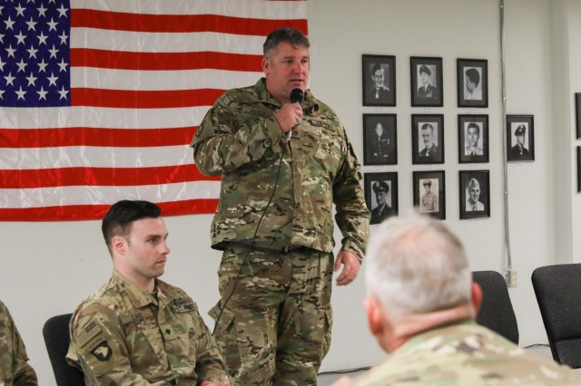 Retired Staff Sgt. John Hosea, a native of Las Vegas, Nevada, shares his story with the Soldiers of Train, Advise and Assist Command-South, April 5, 2018, during Operation Proper Exit on Kandahar Airfield, Afghanistan.