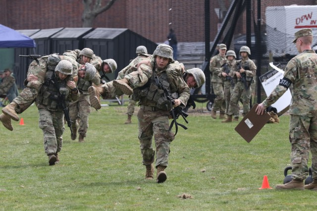 University of Alabama Cadets kick off the Functional Fitness event of the Sandhurst Military Skills competition at West Point April 13 with a buddy carry.