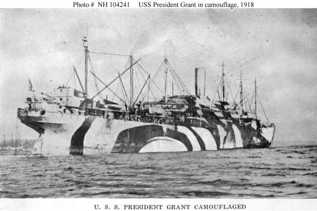 The President Grant, the troopship which carried the Soldiers of the New York National Guard's 108th Infantry Regiment to France in World War I when the 27th Division shipped out for Europe in May, 1918.