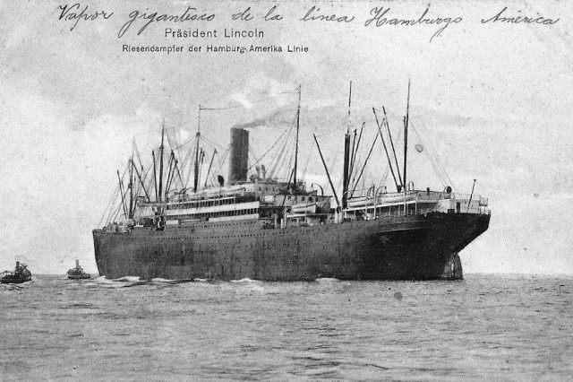 The U.S.S. President Lincoln, a former German ocean liner, which carried the New York National Guard's 106th Infantry Regiment to France in 1918. The ship docked in Brest on May 25 and was sunk by a German U-boat while returning to the United States on May 31.