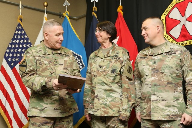 Col. Wendy L. Harter, 65th Medical Brigade commander, Command Sgt. Maj. Todd M. Garner, 65th Medical Brigade command sergeant major, and Ta'Vares G. Hickey, 65th Medical Brigade safety and occupational health manager, receive the 2018 Eighth Army Safety Award of Excellence from Lt. Gen. Michael A. Bills, Eighth Army commanding general, and Command Sgt. Maj. Richard E. Merritt, Eighth Army command sergeant major. The award is for exceptional accomplishments in accident prevention, risk mitigation and safety.