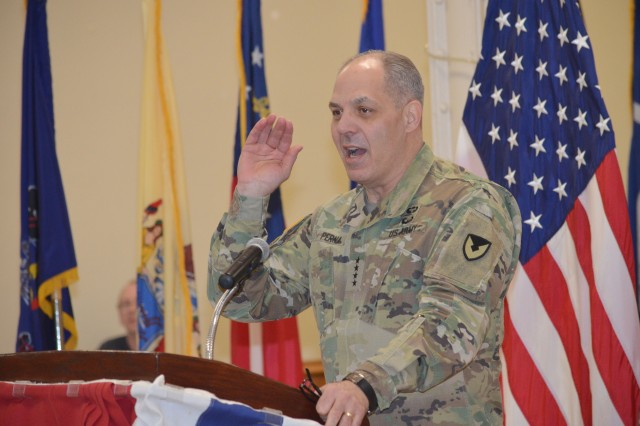 General Gus Perna, commanding general, U.S. Army Materiel Command, addresses the crowd gathered for the inaugural People First Forum at Heritage Hall on Rock Island Arsenal April 17. (Photo by Galen Putnam, Army Sustainment Command Public Affairs)