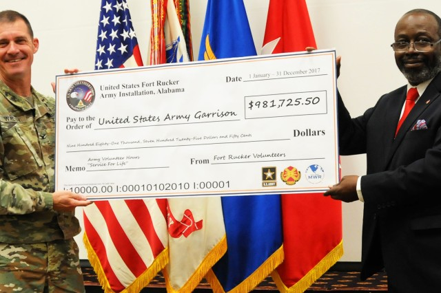 Col. Brian E. Walsh, Fort Rucker garrison commander, is presented a check by Vernon Johnson, Fort Rucker Army Volunteer Coordinator, during the Volunteer of the Year ceremony at The Landing ballroom April 16 that depicts the monetized amount that Fort Rucker volunteers gave of their time in 2017.