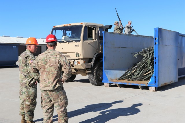 Soldiers from the 62nd ESB, 11th TTSB at Fort Hood, Texas, recycle unserviceable military equipment, which will generate revenues for the installation's recycle program.