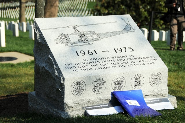 The Vietnam Helicopter Pilot and Crewmember Monument is located in Section 35 of Arlington National Cemetery. It was dedicated April 18, 2018.  The monument is carved in Barre granite, which was quarried in Vermont, and it is located near the Tomb of the Unknown Soldier.