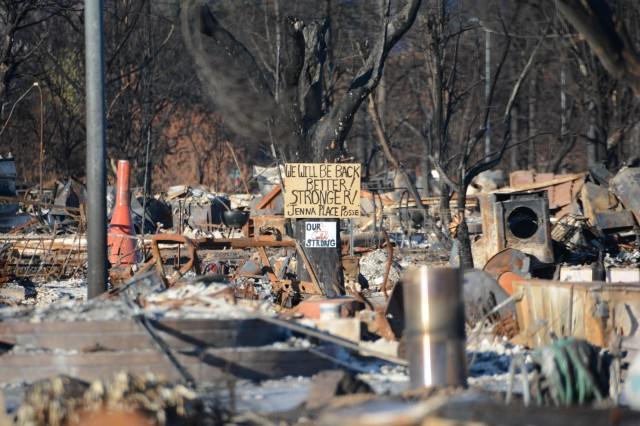 A message of hope is seen posted above the carnage in Coffey Park, north of Santa Rosa, California on Nov. 7, 2017. The U.S. Army Corps of Engineers Sacramento District has been spearheading cleanup efforts in the fire stricken areas of Sonoma, Lake, Mendocino and Napa counties.