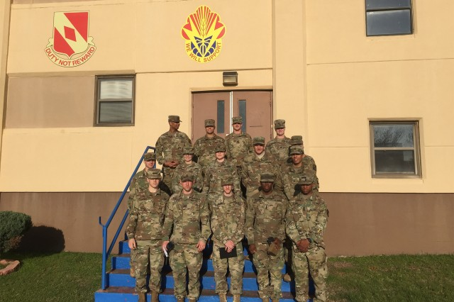 Cameron University ROTC cadets stand for a photo following a video teleconference (VTC), April 3, 2018, with 75th Field Artillery Brigade and 1st Battalion, 14th FA personnel, who are deployed. The VTC provided cadets a forum to question Soldiers about deployed life and what they may do once commissioned as second lieutenants. The VTC was conducted at 75th FAB Headquarters at Fort Sill, Okla.