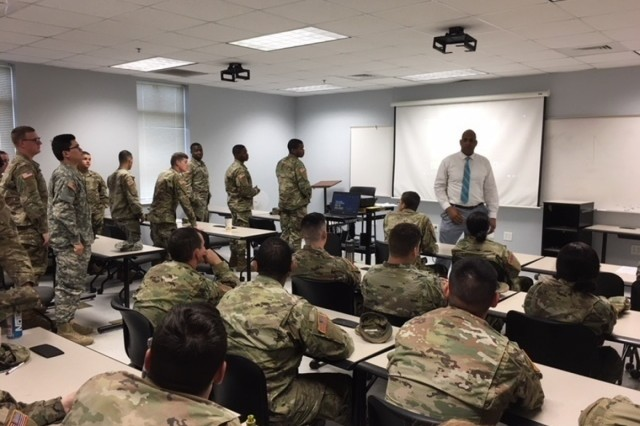 Roger Taylor, 1st Armored Brigade Combat Team Sexual Harassment Assault Response and Prevention civilian victim advocate facilitates discussion with Soldiers during SHARP Solarium training on April 9, 2018, at Fort Stewart, Ga. The Solariums were designed as an open forum discussion for groups of Soldiers to speak openly, frankly and honestly. (U.S. Army courtesy photo)