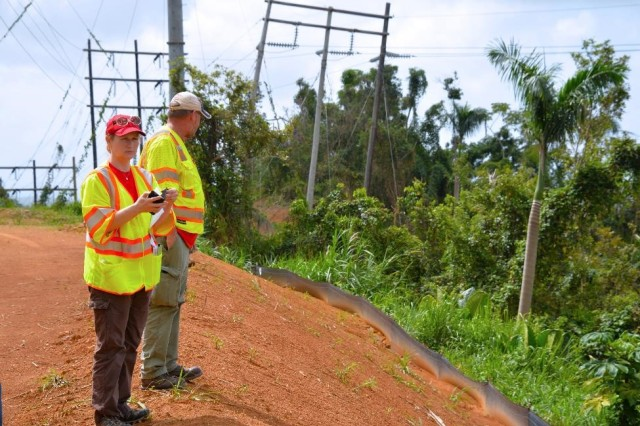 Tammy Turley, chief of the Regulatory Division at the USACE Nashville District, temporarily assigned in Puerto Rico to evaluate compliance with environmental regulations, inspect sites where power restoration work is underway to assess conditions and make recommendations.