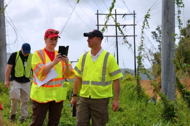 Tammy Turley, chief of the Regulatory Division at the USACE Nashville District and Chris Akios, a biologist with the USACE Buffalo District, both temporarily assigned in Puerto Rico to evaluate compliance with environmental regulations, inspect sites where power restoration work is underway to assess conditions and make recommendations.