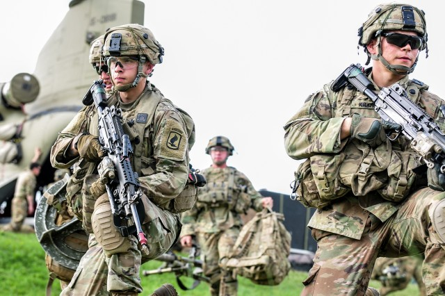 Sky Soldiers from the 1st Battalion, 503rd Infantry Regiment, 173rd Airborne Brigade participate in training at the Joint Warfighter Assessment Sunday, April 22, 2018 in Hohenfels, Germany.
