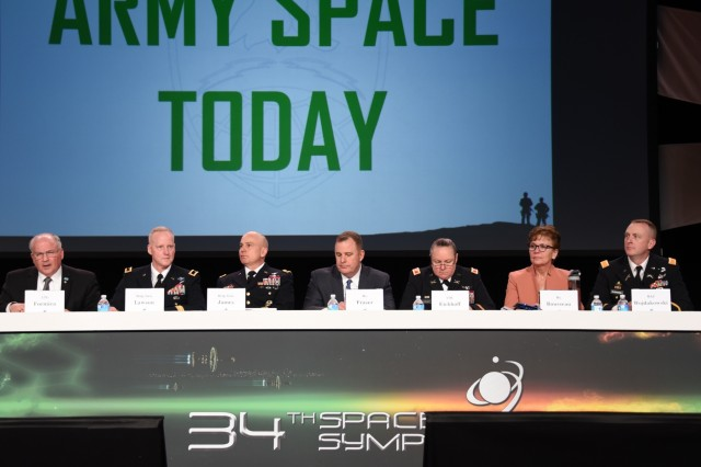 "U.S. Army Space and Missile Defense Command/Army Forces Strategic Command's former commanding general retired Lt. Gen. Richard Formica serves as moderator for a seven-member panel focused on ""Army Space Today""  during the 34th Space Symposium at the Broadmoor in Colorado Springs April 19. Brig. Gen. Tim Lawson, deputy commanding general for operations, U.S. Army Space and Missile Defense Command/Army Forces Strategic Command, talked about the Army's use of space during the panel."