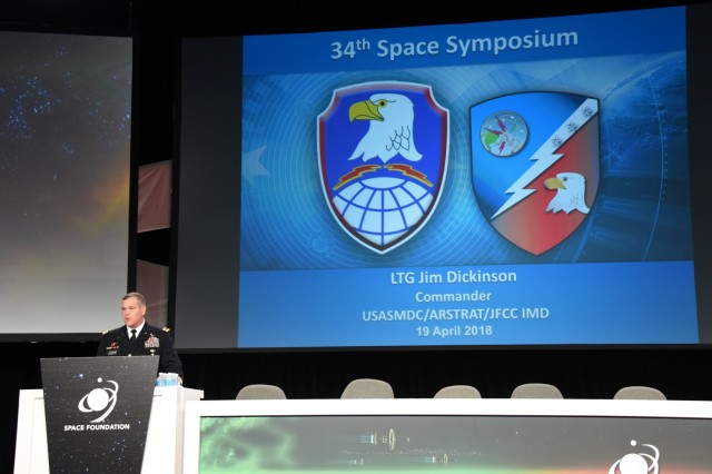Lt. Gen. James Dickinson, commanding general, U.S. Army Space and Missile Defense Command/Army Force's Strategic Command, talks about space capabilities crucial to Army readiness April 19 at the 34th Space Symposium in Colorado Springs, Colorado.