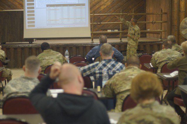 Master Sgt. Kevin G. Watts, of the 99th Readiness Division, speaks during a pre-retirement briefing April 7, 2018 at the Kazabra Club on Vogelweh Housing Area in Kaiserslautern, Germany.
