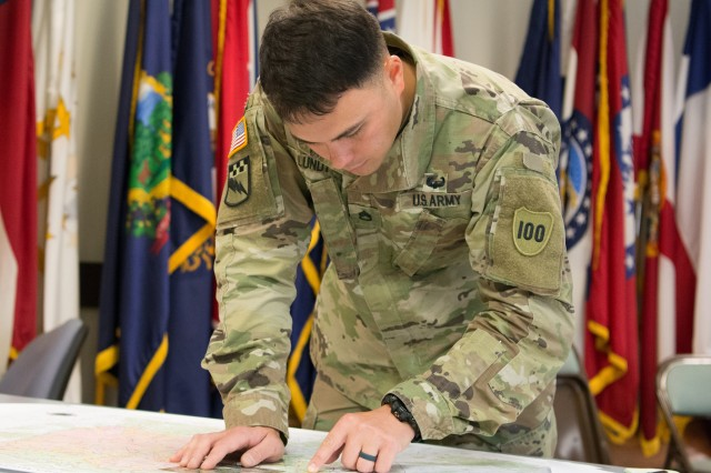 Staff Sgt. William Lundy, of the 100th Training Division, puts his map-reading skills to the test as part of the 80th Training Command's 2018 Best Warrior Competition at Fort Knox, Kentucky, April 13, 2018. (U.S. Army Reserve photo by Maj. Addie Leonhardt, 80th Training Command)