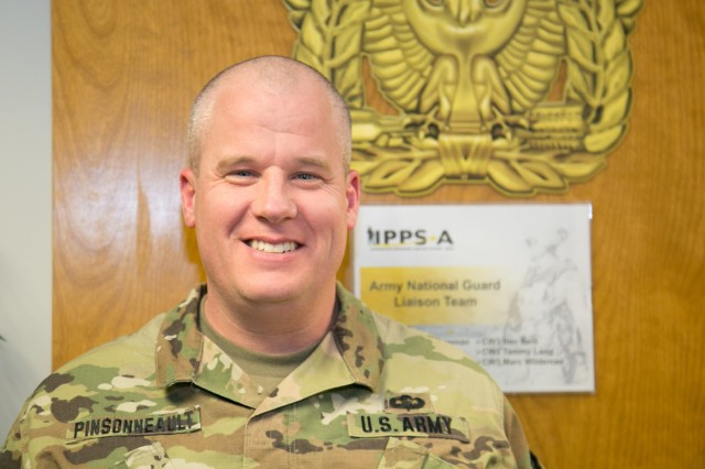 CW2 Sean Pinsonneault, N.H. Army National Guard, Force Integration Readiness Officer, met with Soldiers of the Integrated Personnel and Pay System - Army (IPPS-A) National Guard Liaison Team in Arlington, Va., the week of Apr. 16-19, 2018 to conducted a critical review of Army Organization Server Data ahead of Release 2 for his state. Validating unit information accuracy and unit hierarchy alignment are essential steps for building the templates to upload Soldier records into IPPS-A.