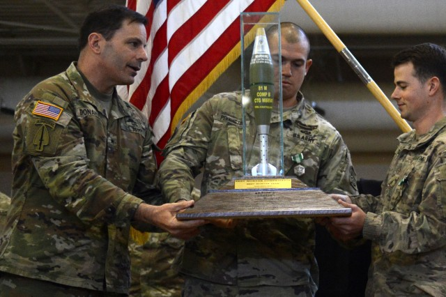 Brig. Gen. Christopher T. Donahue, Infantry School Commandant, Maneuver Center of Excellence, congratulates Soldiers of the 82nd Airborne Division, who won the Best Mortar Competition during Infantry Week, April 2018 at Fort Benning, Ga.