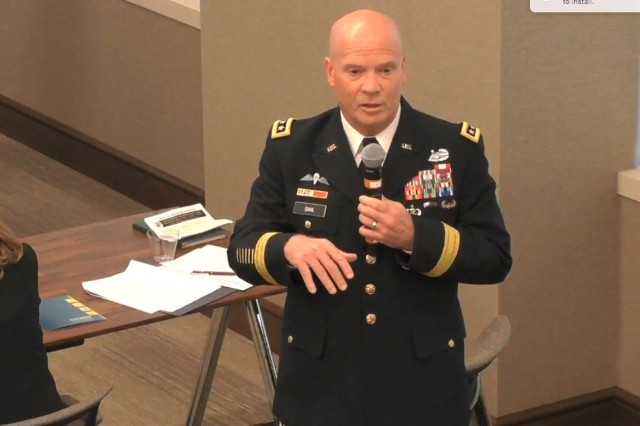 "Lt. Gen. Kenneth R. Dahl, commander, Installation Management Command, speaks at a February 2018 Association of the U.S. Army ""Installations"" Hot Topic panel in Arlington, Va."