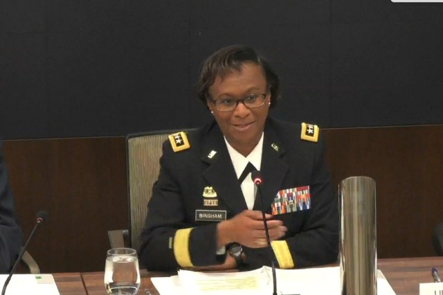 "Lt. Gen. Gwendolyn Bingham, assistant chief of staff for Installation Management, speaks at a February 2018 Association of the U.S. Army ""Installations"" Hot Topic panel in Arlington, Va."