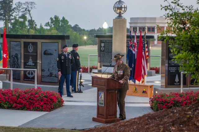 COLUMBUS, Ga. (April 25, 2018) -- Lt. Col. James McGann, Australian Army liaison at Fort Benning, Georgia, delivers remarks during the ANZAC Day observance. To commemorate Australian and New Zealander military members who died in service over the past 103 years, Soldiers and Family members gathered at the 173rd Airborne Brigade Sky Soldier Memorial at the National Infantry Museum in Columbus, Georgia, before dawn April 25. The sunrise service, organized and run by the Australian Army Contingent on assignment at the Maneuver Center of Excellence and Fort Benning, was in observance of ANZAC Day, the anniversary of  the 1915 landing of Australia and New Zealand Army Corps soldiers at Gallipoli in what was then the Ottoman Empire and is now Turkey. (U.S. Army photo by Patrick Albright, Maneuver Center of Excellence, Fort Benning Public Affairs)