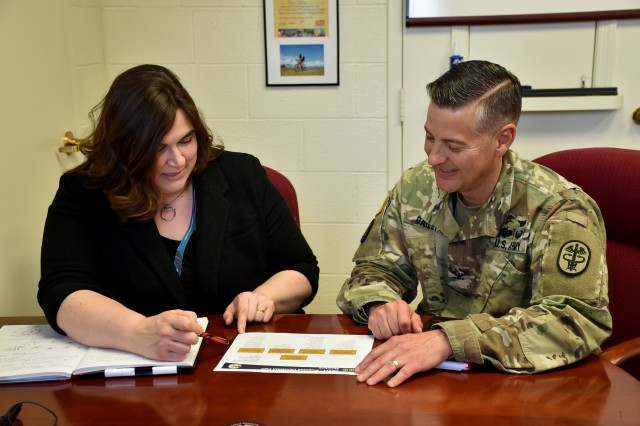 Col. Ryan Bailey, commander of the U.S. Army Medical Materiel Development Activity, and Kathleen Berst, USAMMDA Deputy for Acquisition, utilize the Army acquisition process to realize the advanced development and delivery of numerous medical products in support of Service Members worldwide.