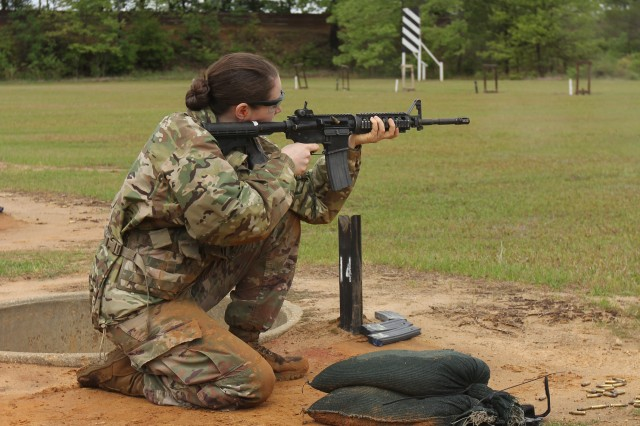 FORT GORDON, Ga. -- Sgt. Savannah Matelski, Company D, 781st Military Intelligence (MI) Battalion, from Brandenburg, Kentucky, is shown here firing her M4A1 carbine rifle during the qualification range which was an event on day one of the brigade's Best Warrior Competition, April 23.
