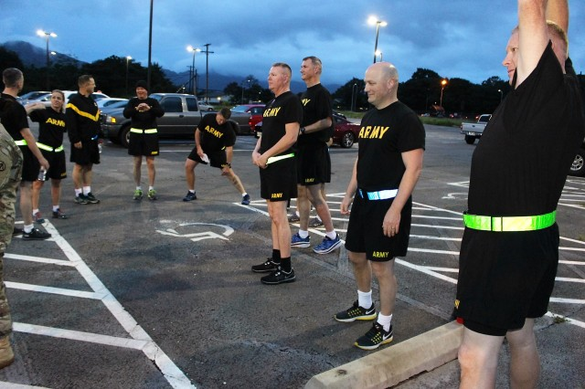 599th IMAs prepare for their APFT on April 19 at Wheeler Army Airfield.
