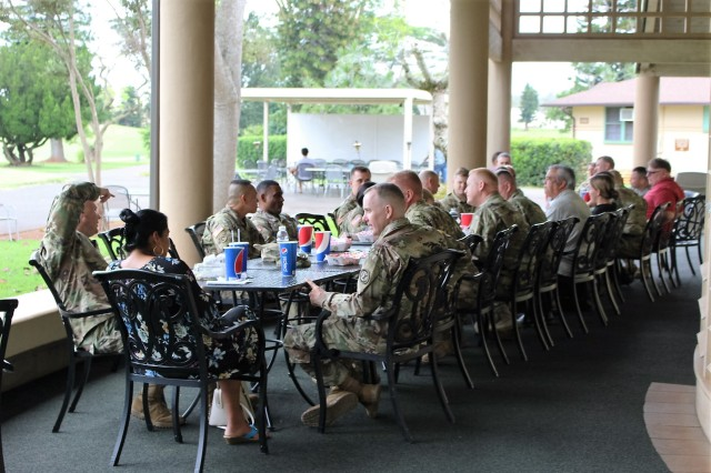 599th IMAs join fulltime active duty and civilians for lunch at the Leilehua Golf Course outside Wheeler Army Airfield, Hawaii, on April 19.
